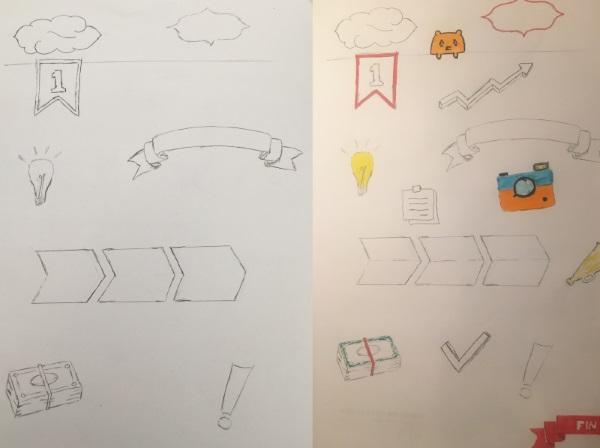 Ensemble de petits doodles