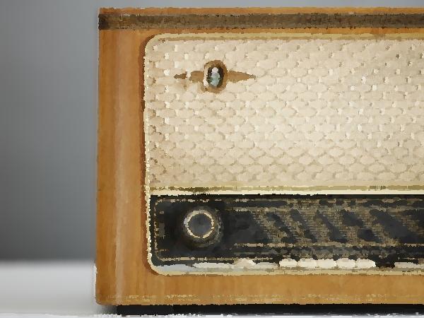 Ancien poste de radio des années 1960 façon aquarelle