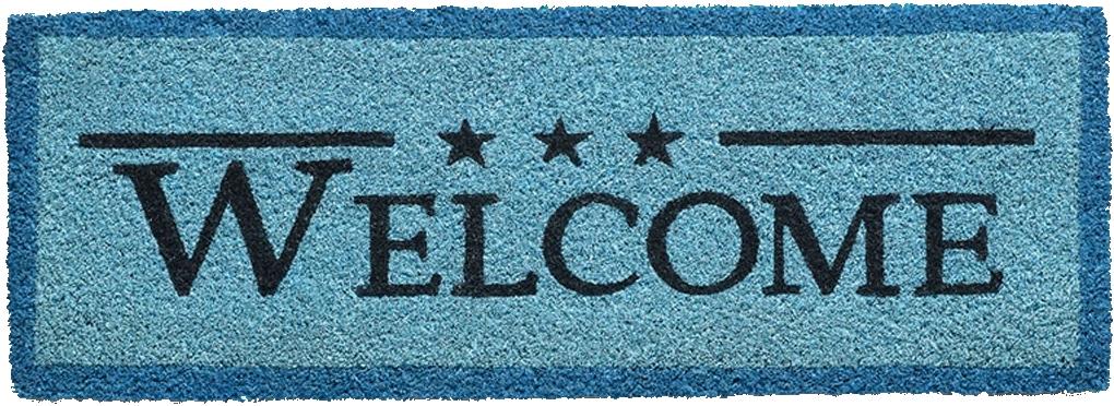 tapis paillasson welcome star bleu