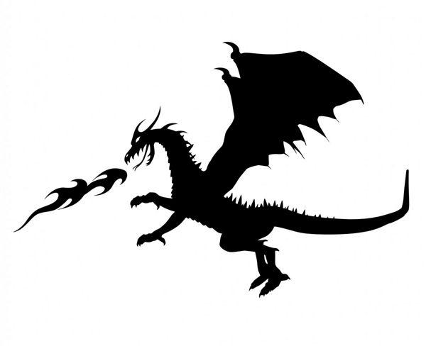 Dessin noir et blanc d'un dragon