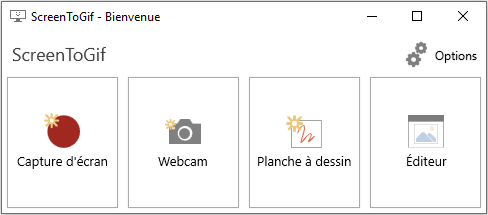 Le menu de démarrage de ScreenToGif